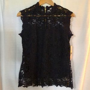 NANETTE Dark Navy Cap Sleeve High Neck Lace Top M